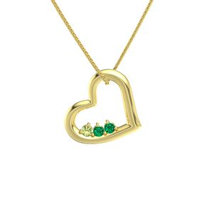 Round Emerald 14K Yellow Gold Pendant with Peridot and Emerald