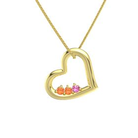 Round Fire Opal 14K Yellow Gold Pendant with Fire Opal and Pink Tourmaline