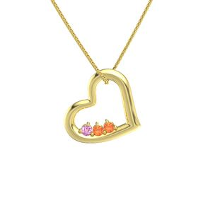 Round Fire Opal 14K Yellow Gold Pendant with Pink Sapphire and Fire Opal