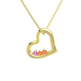 Round Fire Opal 14K Yellow Gold Pendant with Pink Tourmaline and Fire Opal