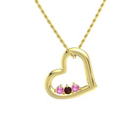 Round Red Garnet 14K Yellow Gold Pendant with Pink Tourmaline