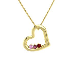 Round Rhodolite Garnet 14K Yellow Gold Pendant with Pink Sapphire and Ruby