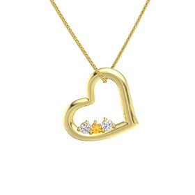 Round Citrine 14K Yellow Gold Pendant with White Sapphire and Diamond