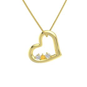 Round Citrine 14K Yellow Gold Pendant with White Sapphire
