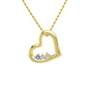 Round White Sapphire 14K Yellow Gold Necklace with Tanzanite & White Sapphire