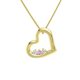 Round Pink Sapphire 14K Yellow Gold Necklace with Diamond