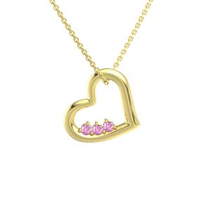 Round Pink Sapphire 14K Yellow Gold Pendant with Pink Sapphire