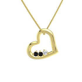 Round Black Onyx 14K Yellow Gold Pendant with Black Onyx and Diamond