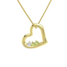 Round Peridot 14K Yellow Gold Necklace with Diamond & Peridot