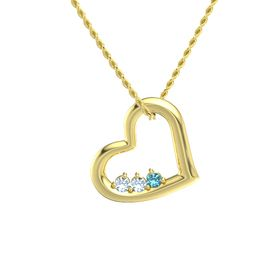 Round Aquamarine 14K Yellow Gold Pendant with Aquamarine and London Blue Topaz