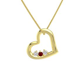 Round Ruby 14K Yellow Gold Necklace with White Sapphire
