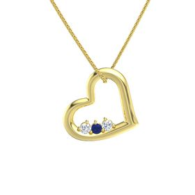 Round Sapphire 14K Yellow Gold Necklace with Diamond