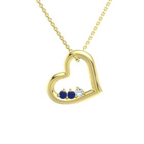 Round Sapphire 14K Yellow Gold Necklace with Sapphire & Aquamarine