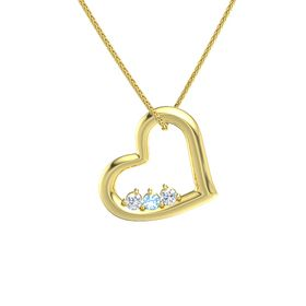 Round Blue Topaz 14K Yellow Gold Necklace with Diamond
