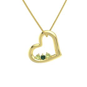 Round Alexandrite 14K Yellow Gold Pendant with Peridot