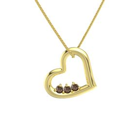 Round Smoky Quartz 14K Yellow Gold Pendant with Smoky Quartz