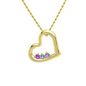 Round Tanzanite 14K Yellow Gold Necklace with Amethyst & Tanzanite