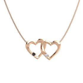 14K Rose Gold Necklace with Black Diamond & Diamond
