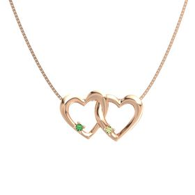 14K Rose Gold Necklace with Emerald & Peridot