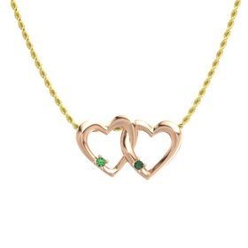 14K Rose Gold Pendant with Emerald and Alexandrite