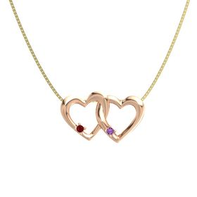 14K Rose Gold Pendant with Ruby and Amethyst