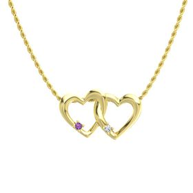 14K Yellow Gold Pendant with Amethyst and Diamond