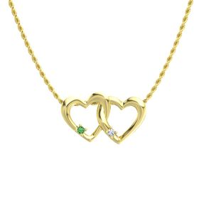 14K Yellow Gold Pendant with Emerald and Diamond