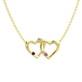 14K Yellow Gold Pendant with Red Garnet and Amethyst
