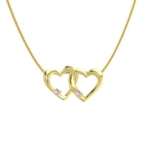 14K Yellow Gold Necklace with Pink Sapphire