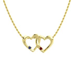 14K Yellow Gold Pendant with Blue Sapphire and Ruby