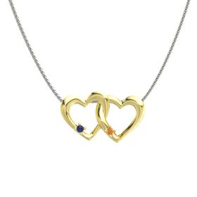 18K Yellow Gold Pendant with Blue Sapphire and Citrine