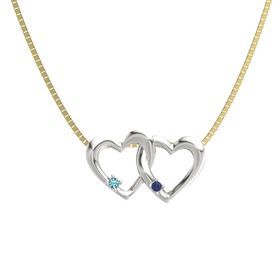 Platinum Pendant with London Blue Topaz and Blue Sapphire
