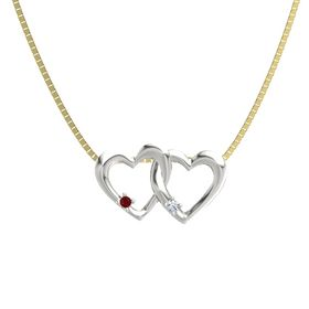 Platinum Pendant with Ruby and Diamond