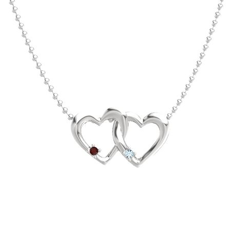 Sterling silver necklace with red garnet aquamarine linked linked hearts pendant aloadofball Image collections