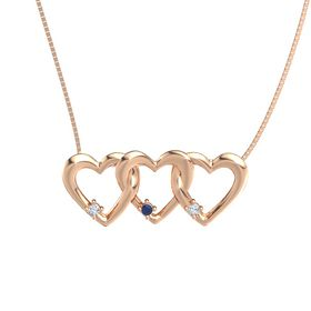 Round Sapphire 14K Rose Gold Necklace with Diamond