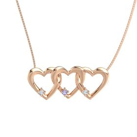 Round Iolite 14K Rose Gold Necklace with Diamond