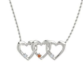 Round Fire Opal 14K White Gold Necklace with Diamond