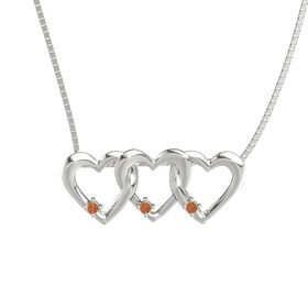 Round Fire Opal 14K White Gold Pendant with Fire Opal