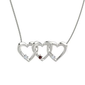 Round Red Garnet 14K White Gold Pendant with Diamond