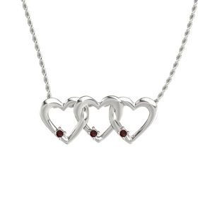 Round Red Garnet 14K White Gold Pendant with Red Garnet