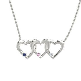 Round Pink Sapphire 14K White Gold Pendant with Blue Sapphire and Diamond