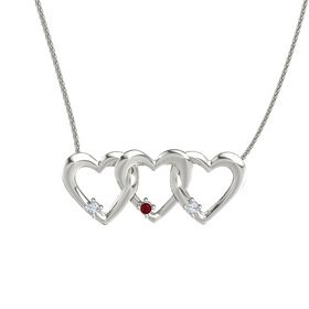 Round Ruby 14K White Gold Pendant with Diamond