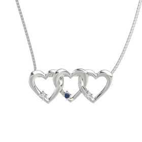 Round Blue Sapphire 14K White Gold Pendant with Diamond
