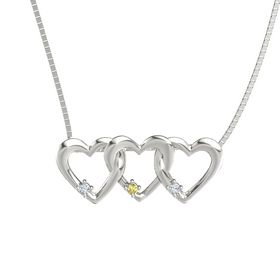 Round Yellow Sapphire 14K White Gold Pendant with Diamond