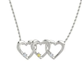Round Yellow Sapphire 14K White Gold Necklace with Diamond