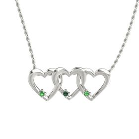 Round Alexandrite 14K White Gold Necklace with Emerald
