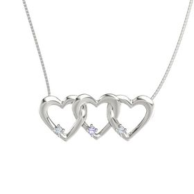 Round Tanzanite 14K White Gold Pendant with Diamond