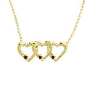 Round Ruby 14K Yellow Gold Pendant with Ruby and Red Garnet