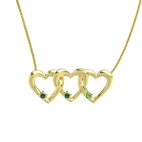 Round Alexandrite 14K Yellow Gold Necklace with Alexandrite & Emerald