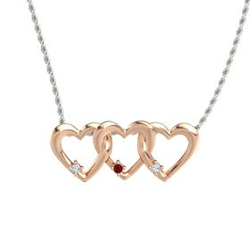 Round Ruby 18K Rose Gold Necklace with Diamond